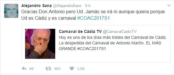 Alejandro Sanz y Manuel Carrasco también rinden homenaje a Antonio Martín