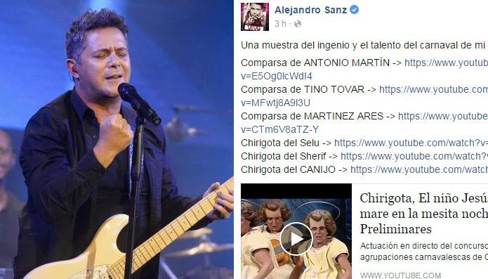 Alejandro Sanz presume «del ingenio y talento» del Carnaval de Cádiz
