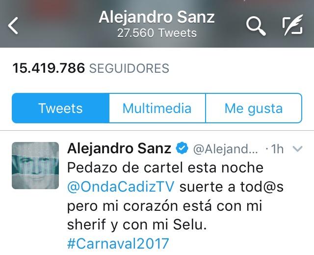 Alejandro Sanz: «Suerte a todos pero mi corazón está con mi Sheriff y con mi Selu»