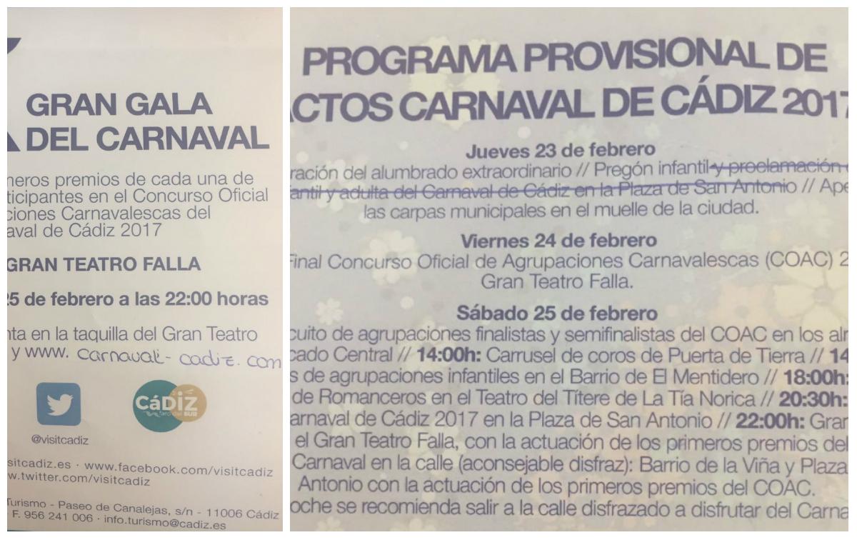 Un Carnaval sin programa oficial y con folletos tachados a mano
