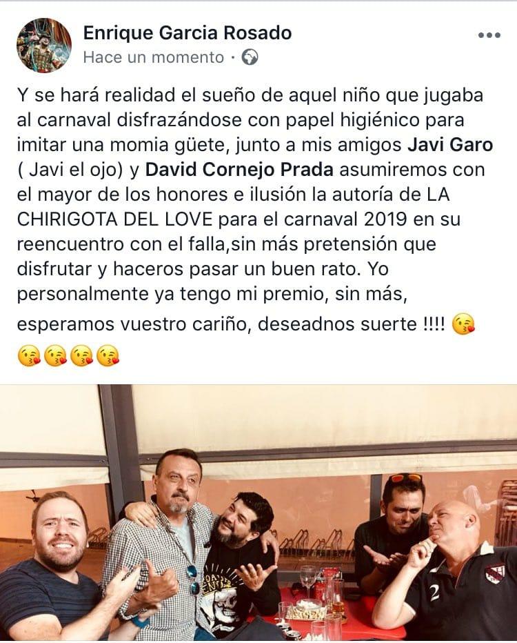 Anuncio de Kike Remolino sobre el Carnaval de Cádiz 2019
